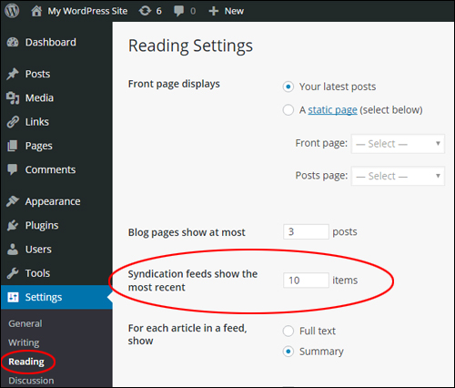 WP Reading Settings - Number of syndication feed items field