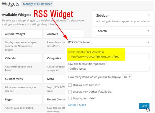 Widgets Section - RSS Widget