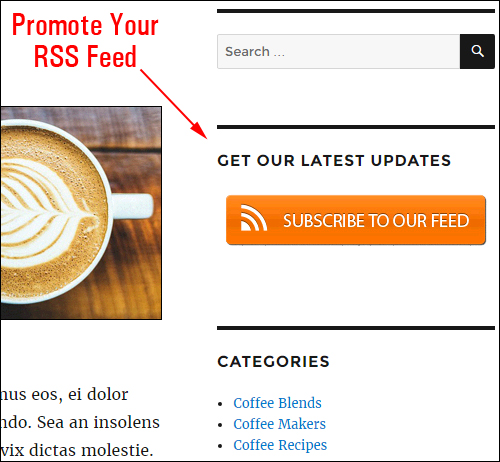 Encourage your visitors to subscribe to your RSS feeds!
