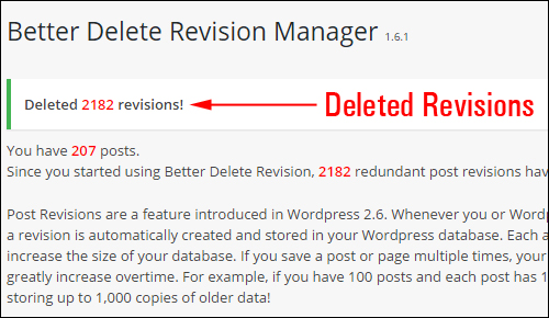 Post revisions list deleted