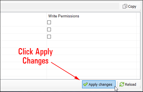Click 'Apply changes' to set file permissions