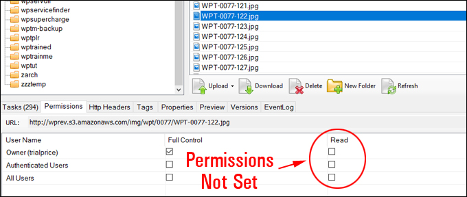File access permissions not set