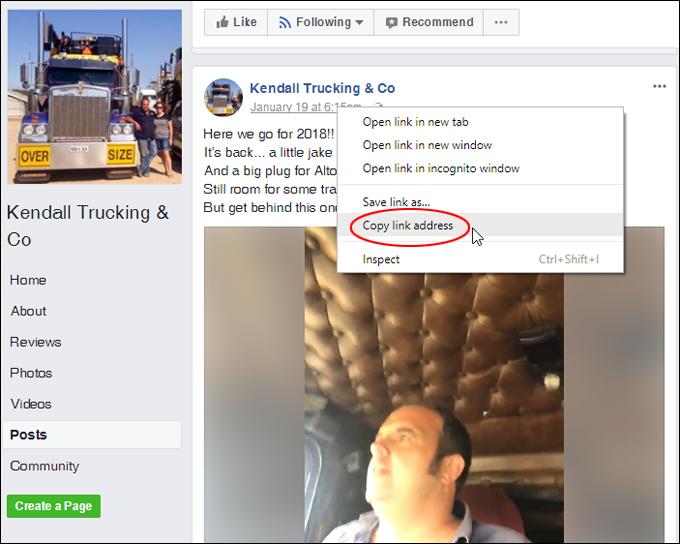 Copy Facebook video URL to clipboard