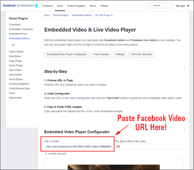 Paste Facebook video URL from clipboard