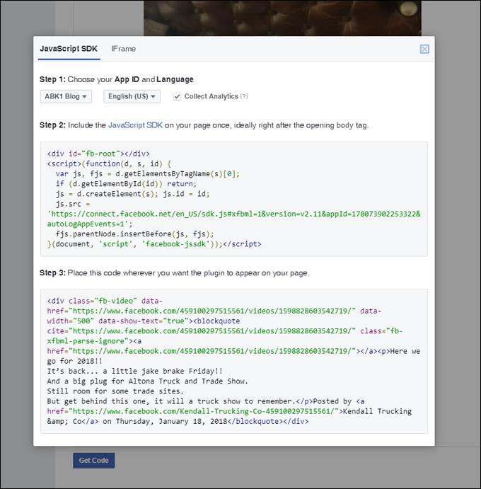 Facebook video embed code