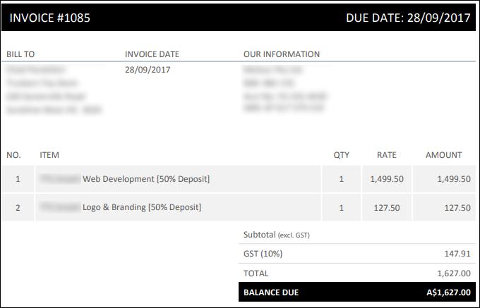 Website development work invoice