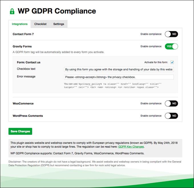 WP GDPR Compliance - Integrations screen