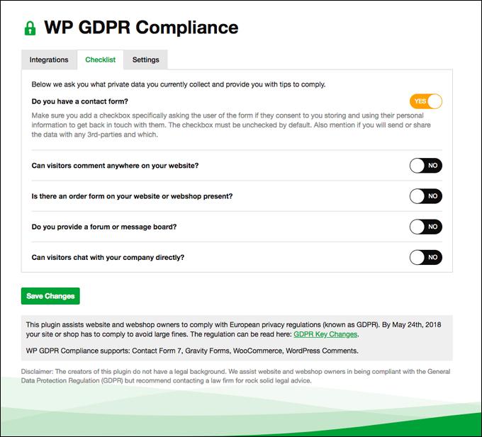 WP GDPR Compliance - Checklist