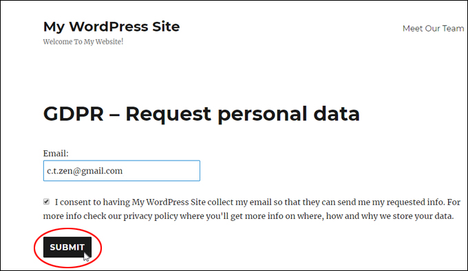 Users submit a request for personal data