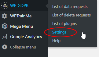 WP GDPR menu - Settings
