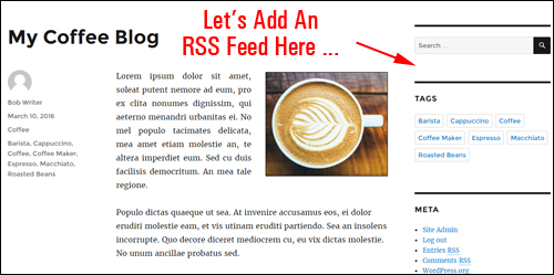 Let's add content from an RSS feed to your sidebar