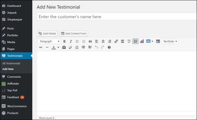 Custom post type: Testimonial
