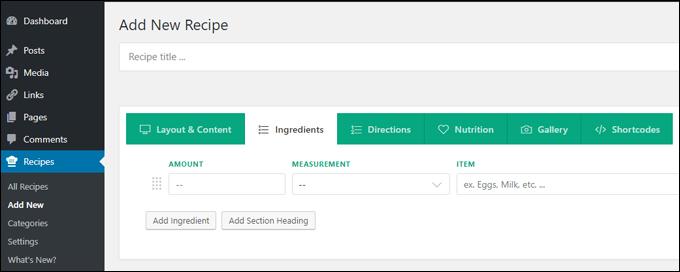 Custom post type: Recipe