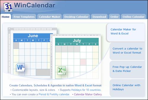 WinCalendar.com - Calendar maker