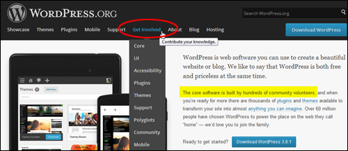 WordPress is built by a large community of volunteer web developers