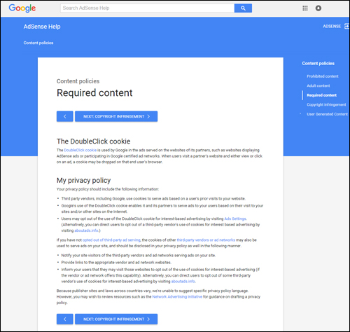 Google AdSense online advertising - policy requirements