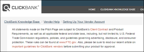 Policy requirements for ClickBank digital product vendors