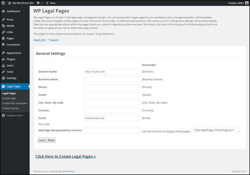 WP Legal Pages Plugin - Settings Screen