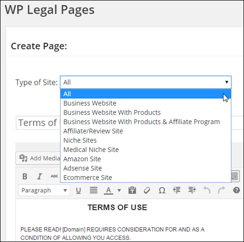 WordPress Legal Pages - Type of Site dropdown menu