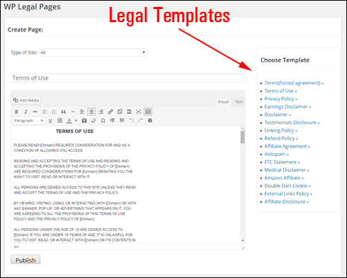 WP Legal Pages Plugin For WordPress - Legal Templates