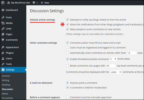 WordPress Settings - Discussion Settings
