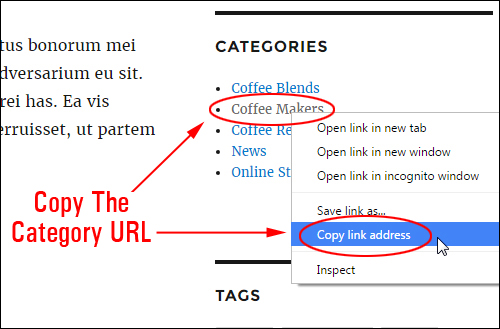Copy the category URL ...