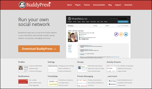 Run your own social network with BuddyPress plugin for WordPress