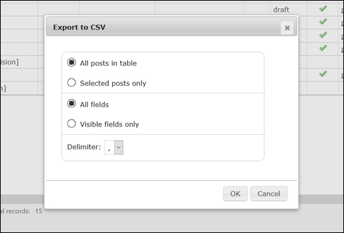 Export posts to a CSV file