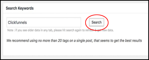 Search for relevant keyword tags