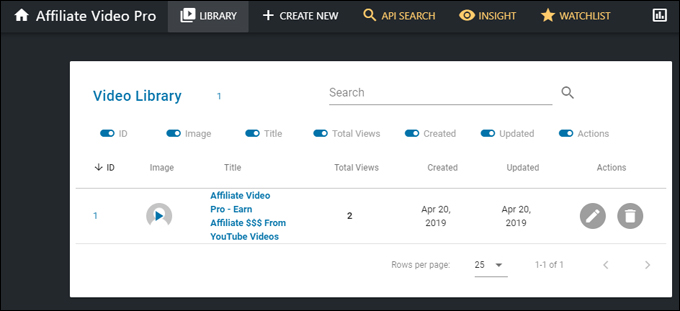 Affiliate Video Pro Dashboard - Video Library