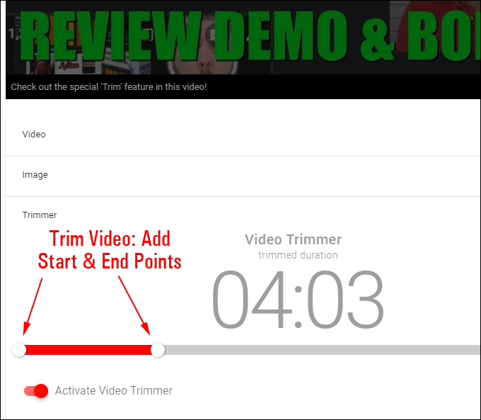 Affiliate Video Pro - Trimmer Feature