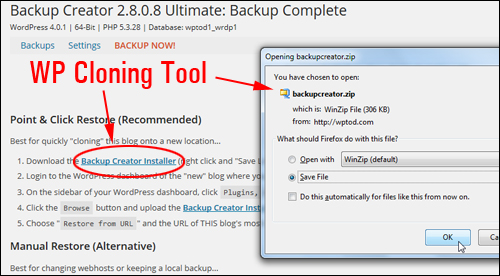 Backup Creator - Backup, Duplicate & Keep Your WP Web Site Protected