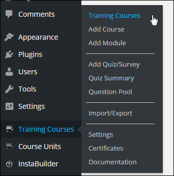 WPCourseware plugin menu