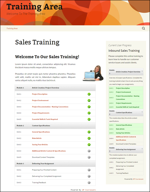 Training course created with WP Courseware