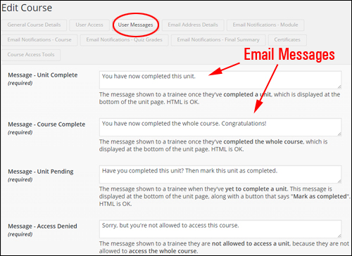 Custom Email Message - WPCourseware