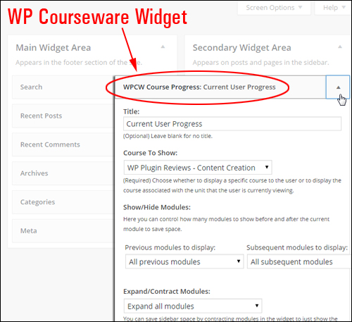 WPCourseware Sidebar Widget