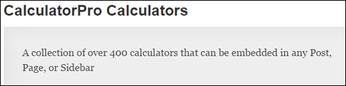 Calculator Pro Calculators Plugin