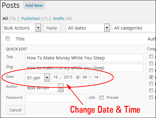 Quick Edit Section - Change Date & Time Settings