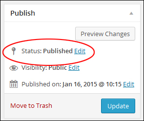 Publish section - Post status: 'Published'