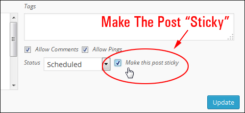 Tick box to make post sticky