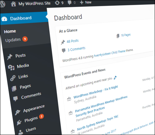 The WordPress Admin Dashboard