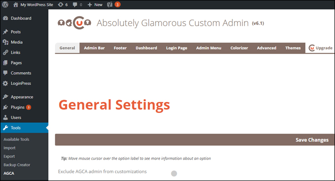 Absolutely Glamorous Custom Admin - Customization Tabs