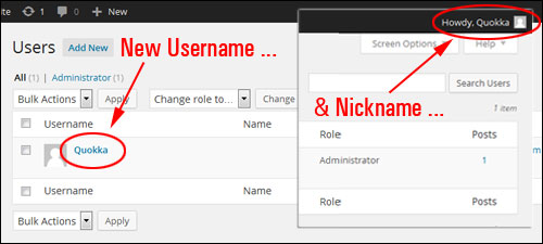Changing Your WordPress Admin Username To Another User Name