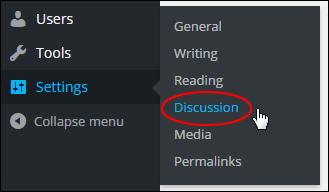 Discussion Settings Menu
