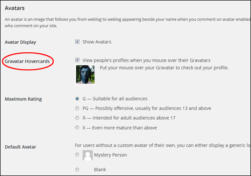 WordPress Discussion Settings - Gravatar Hovercards