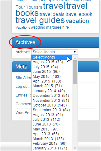 Archives widget added to blog sidebar