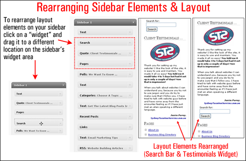 Reorganize sidebar elements using widgets to improve visitor experience