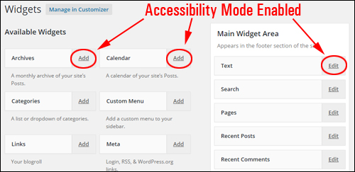 Enabling Widget Accessibility Mode