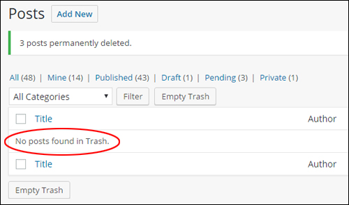 Post trash management - Posts permanently deleted