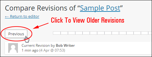 Click 'Previous' to browse older revisions